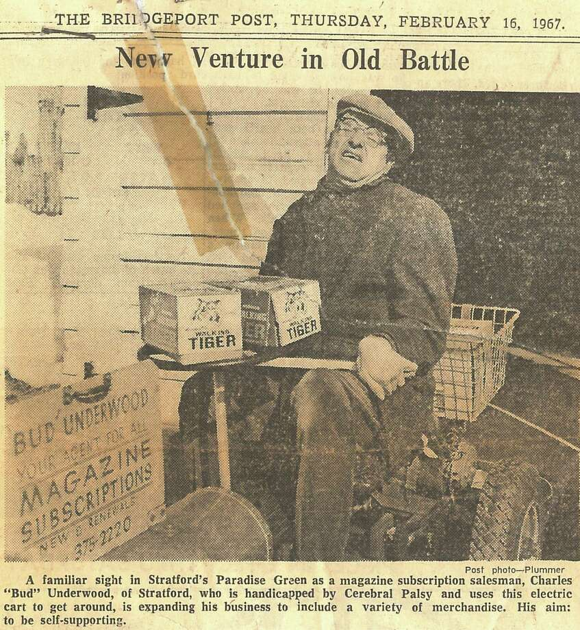 "A tattered clipping from the Bridgeport Post of Feb. 16, 1967 shows Charles ""Bud"" Underwood. The Stratford Town Council is expected to approve a measure Wednesday night to name the gazebo on Paradise Green after Underwood, the amiable cerebral palsy victim who for years sold magazines on and around the green. Photo: Contributed Photo / Contributed Photo / Connecticut Post Contributed"