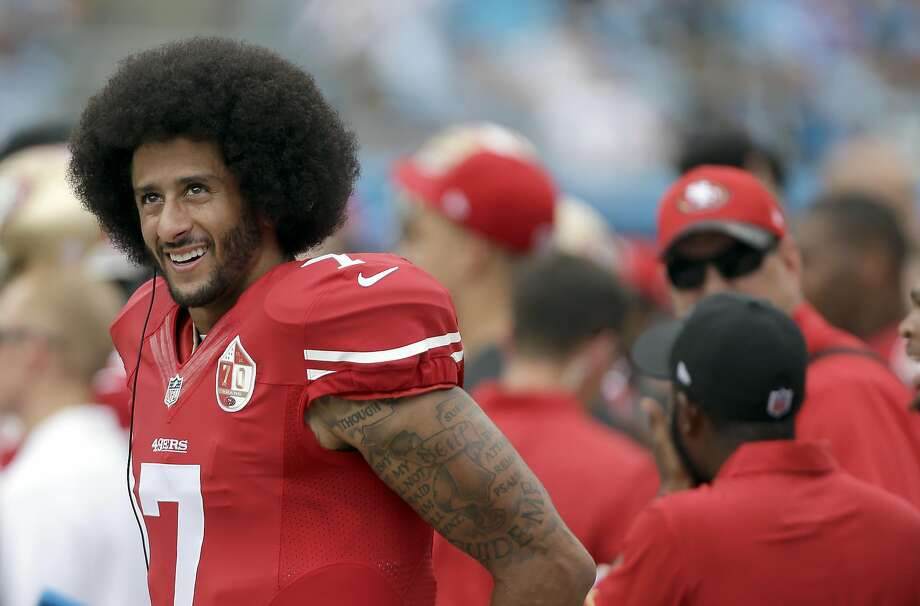 San Francisco 49ers' Colin Kaepernick (7) on the sidelines during the first half of an NFL football game against the Carolina Panthers in Charlotte, N.C., Sunday, Sept. 18, 2016. The Panthers won 46-27.  (AP Photo/Bob Leverone) Photo: Bob Leverone, Associated Press