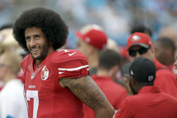 San Francisco 49ers' Colin Kaepernick (7) on the sidelines during the first half of an NFL football game against the Carolina Panthers in Charlotte, N.C., Sunday, Sept. 18, 2016. The Panthers won 46-27.  (AP Photo/Bob Leverone)