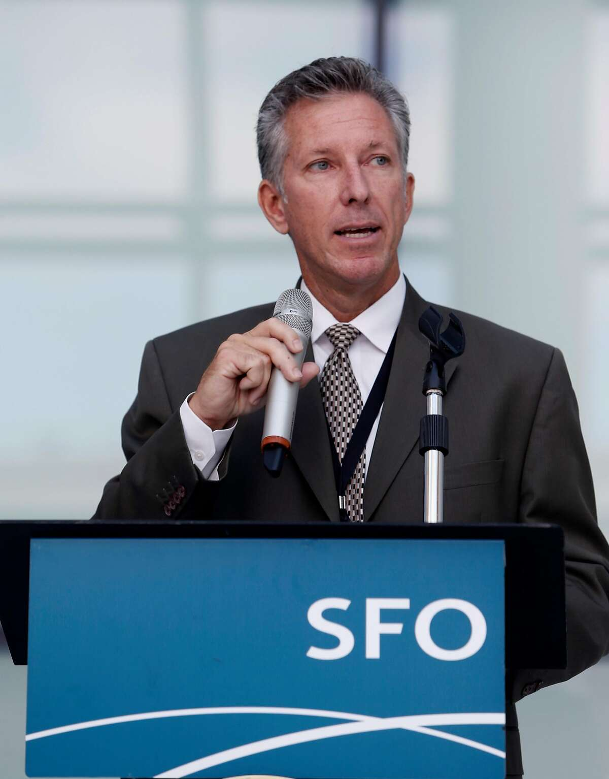 SFO Airport Director Ivar Satero speaks at a ceremony to dedicate the new air traffic control tower in San Francisco, Calif. on Tuesday, Oct. 11, 2016. The iconic 221-foot tall FAA tower becomes fully operational Saturday.