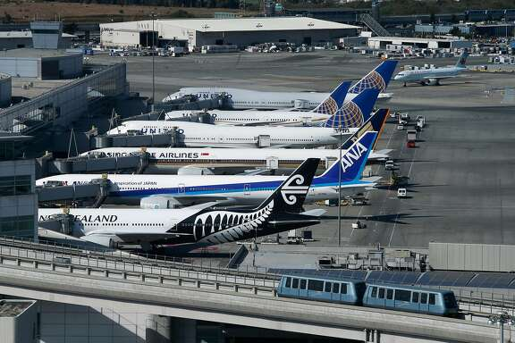 The entire airport can is visible from the new SFO air traffic control tower, including aircraft parked at the International Terminal in San Francisco, Calif. on Tuesday, Oct. 11, 2016. The iconic 221-foot tall FAA tower becomes fully operational Saturday.