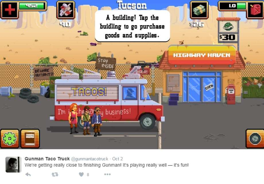 "Screenshots from the Gunman Taco Truck Twitter, which keeps future customers up-to-date with news on the game which will task players to ""save the world - one taco at a time.""  Photo: Twitter.com/gunmantacotruck"