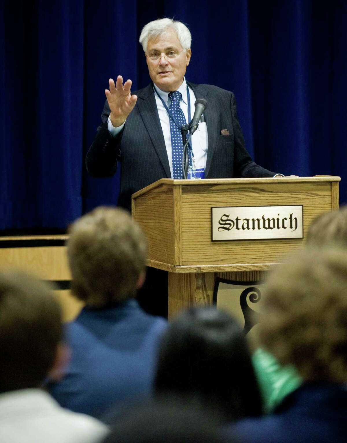 Democratic Town Committee Chair Jeff Ramer speaks to the Stanwich School 9th-12th graders at an assembly in the gymnasium. Tuesday, Oct. 11, 2016