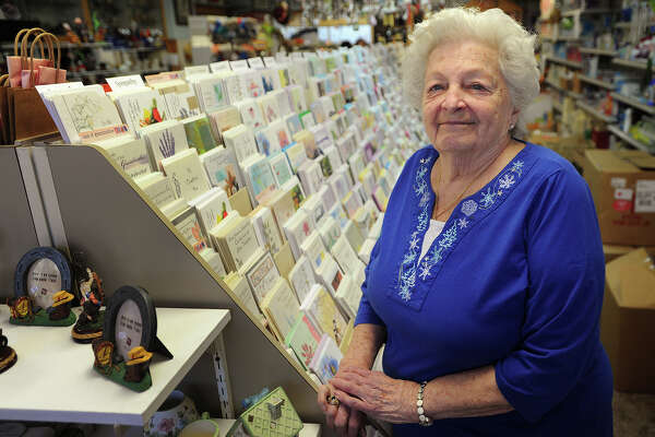 Joan McNamara Radin, owner since 1975, celebrates one hundred years in business at Lear Pharmacy at 198 Wakelee Avenue in Ansonia, Conn. on Tuesday, October 11, 2016. McNamara Radin prides herself on the detail she applies to her business, individually choosing each greeting card that she sells.