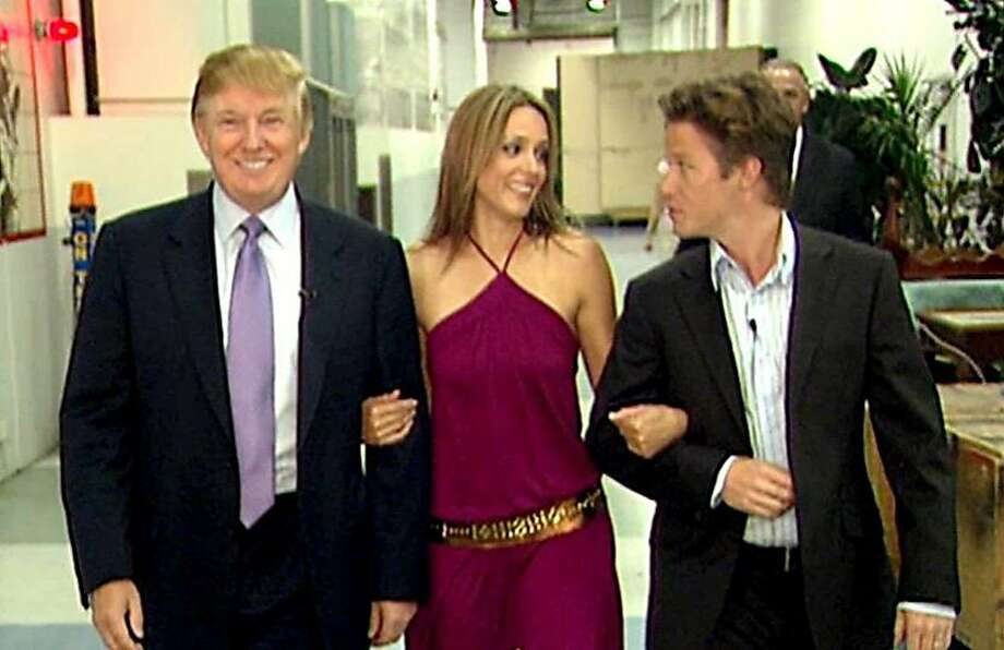 """Donald Trump prepares for an appearance on """"Days of Our Lives"""" in 2005 with actress Arianne Zucker, accompanied by """"Access Hollywood"""" host Billy Bush. MUST CREDIT: Obtained by The Washington Post Photo: The Washington Post, Obtained By The Washington Post"""