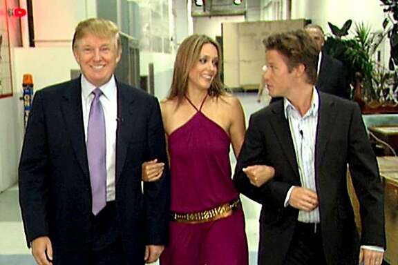 """Donald Trump prepares for an appearance on """"Days of Our Lives"""" in 2005 with actress Arianne Zucker, accompanied by """"Access Hollywood"""" host Billy Bush. MUST CREDIT: Obtained by The Washington Post"""