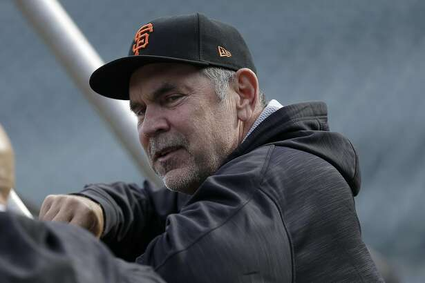 San Francisco Giants manager Bruce Bochy watches batting practice before Game 4 of baseball's National League Division Series against the Chicago Cubs in San Francisco, Tuesday, Oct. 11, 2016. (AP Photo/Ben Margot)