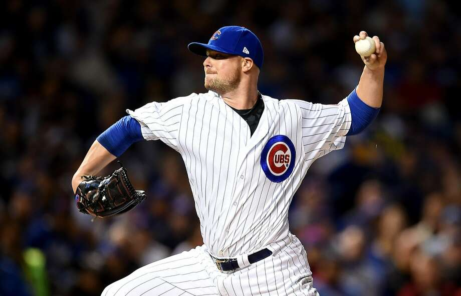 CHICAGO, ILLINOIS - OCTOBER 07:  Jon Lester #34 of the Chicago Cubs pitches in the first inning against the San Francisco Giants at Wrigley Field on October 7, 2016 in Chicago, Illinois.  (Photo by Stacy Revere/Getty Images) Photo: Stacy Revere, Getty Images