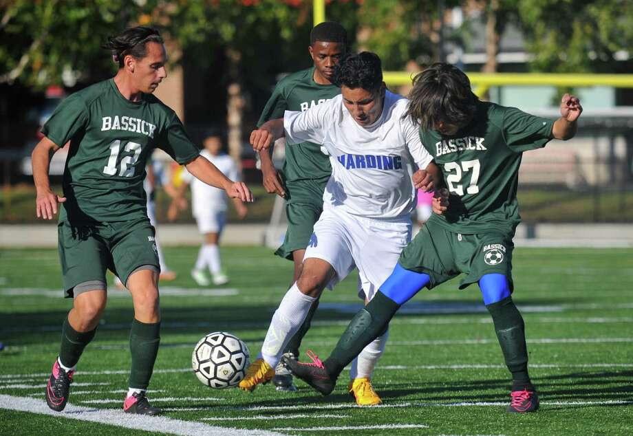High School soccer action between the Harding Presidents and the Bassick Lions on October 11, 2016 at Luis Munoz Marin School in Bridgeport, Connecticut. Photo: Gregory Vasil / For Hearst Connecticut Media / Connecticut Post Freelance