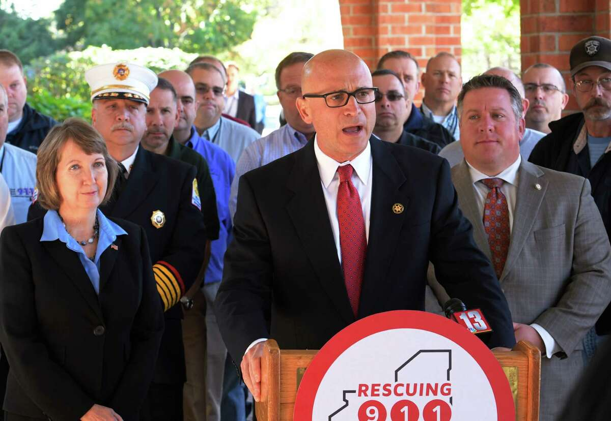 New York State Association of Counties executive director Stephen J. Acquario was joined by other advocates for dedicated resources for 9-1-1 technology upgrades at a press conference held at the Albany Marriott in Colonie, N.Y. (Skip Dickstein/Times Union)