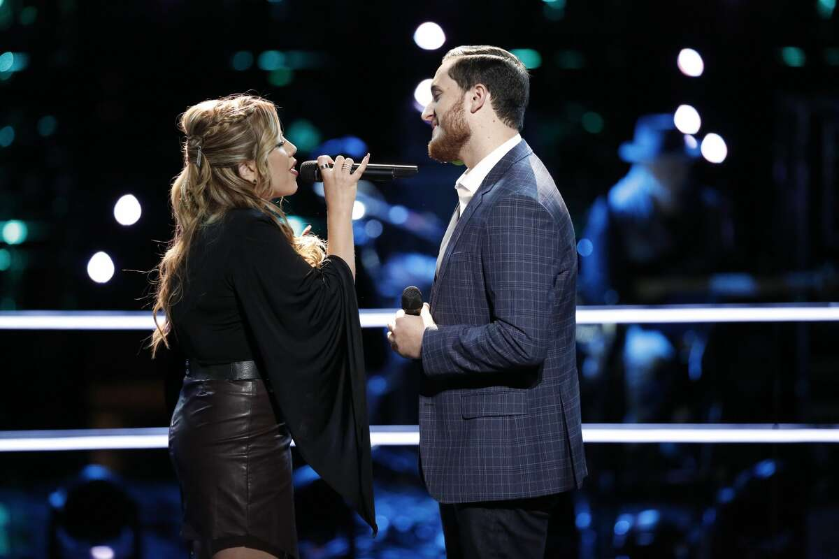"""THE VOICE -- """"Battle Rounds"""" -- Pictured: (l-r) Elia Esparza, Ponciano Seoane -- (Photo by: Tyler Golden/NBC)"""
