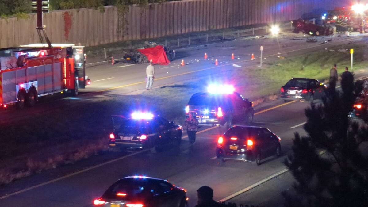 COLONIE --Emergency responders were at the scene of a crash on Route 7 near the Miller Road overpass Tuesday night. The crash happened at about 7 p.m. (Thomas Heffernan Sr. / Special to the Times Union)