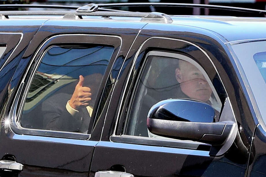 """Republican presidential candidate Donald Trump gives a """"thumbs up"""" as he leaves a private fundraising event at the Grand Hyatt Hotel on Tuesday, Oct. 11, 2016.  MARVIN PFEIFFER/ mpfeiffer@express-news.net Photo: Marvin Pfeiffer, Staff / Express-News 2016"""