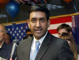 FILE - In this Nov. 4, 2014 file photo, Democrat Ro Khanna, 17th Congressional District candidate, greets supporters at his campaign headquarters in Santa Clara, Calif. He is challenging incumbent fellow Democrat Mike Honda in the November election. (Jim Genshwimer/San Jose Mercury News via AP, File)