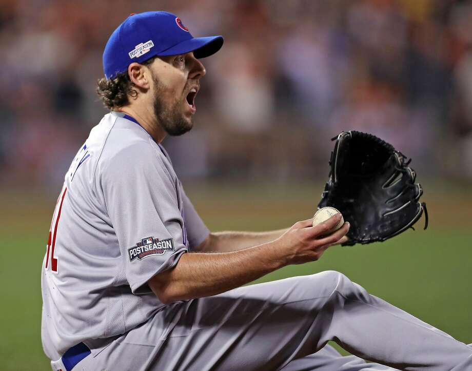 Chicago Cubs' starting pitcher John Lackey complains about San Francisco Giants' Denard Span being called safe on an RBI fielder's choice in 4th inning during Game 4 of the National League Division Series at AT&T Park in San Francisco, Calif., on Tuesday, October 11, 2016. Photo: Scott Strazzante, The Chronicle