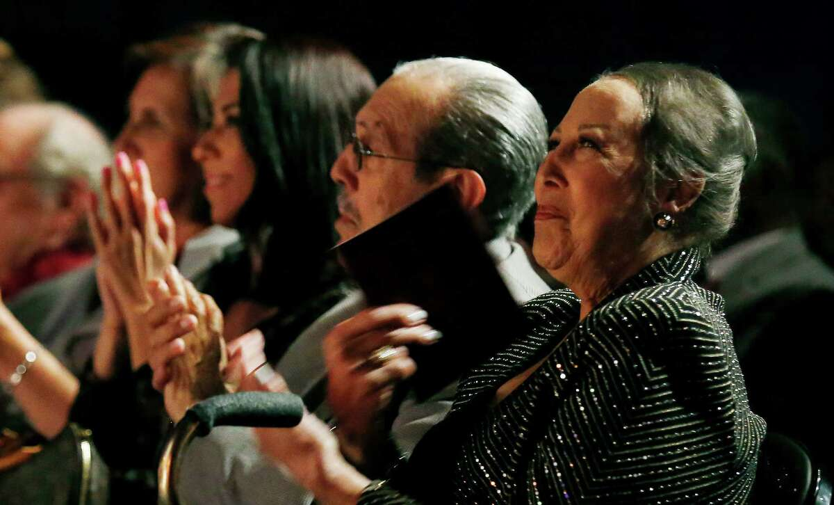 Aaronetta Hamilton Pierce (right) join four other local individuals who are honored at the 2016 Distinction in the Arts award ceremony at the Carlos Alvarez Theater on Tuesday, Oct. 11, 2016. The honorees were: Jim Cullum, Tomas Ybarra-Frausto, Maria De Leon, Pierce and Jesse Trevino.