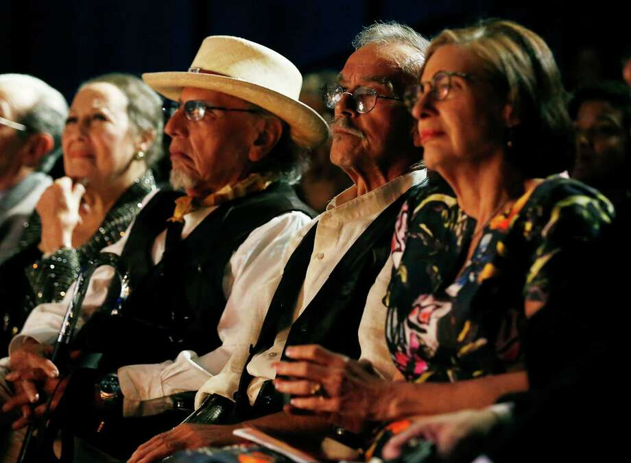 Artist Jesse Trevino (second from right) join four local individuals who are honored at the 2016 Distinction in the Arts award ceremony at the Carlos Alvarez Theater on Tuesday, Oct. 11, 2016. The honorees were: Jim Cullum, Tomas Ybarra-Frausto, Maria De Leon, Aaronetta Hamilton Pierce and Trevino. Photo: Kin Man Hui, San Antonio Express-News / ©2016 San Antonio Express-News
