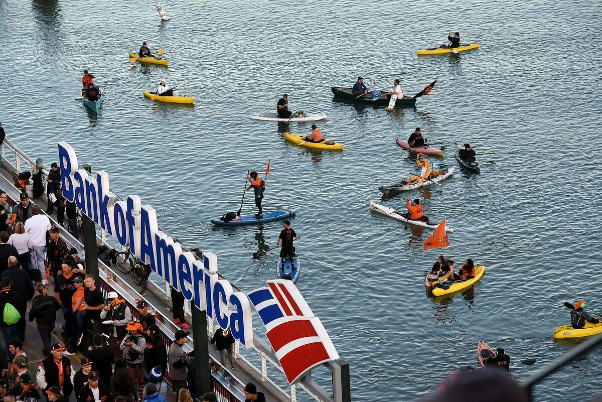 Kayaks and paddle boards are seen in McCovey Cove during game 4 of the National League Division Series between the Chicago Cubs and the San Francisco Giants at AT&T Park in San Francisco, CA Tuesday, October 11, 2016.
