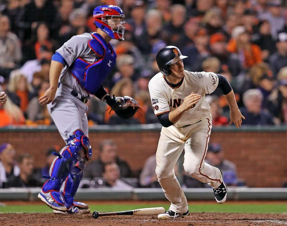 San Francisco Giants' Conor Gillaspie watches his 5th inning RBI single against Chicago Cubs during Game 4 of the National League Division Series at AT&T Park in San Francisco, Calif., on Tuesday, October 11, 2016. Photo: Scott Strazzante, The Chronicle