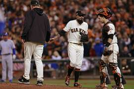 Giants' pitchers including Sergio Romo couldn't close out the ninth inning on the Cubs as the San Francisco Giants went on to fall to the Chicago Cubs 6-5 in game 4 of the National League Division Series at AT&T Park on Tuesday October, 11  2016, in San Francisco, California.