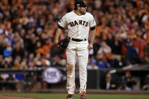 Giants' starting pitcher Matt Moore closes out the eighth inning as the San Francisco Giants went on to fall to the Chicago Cubs 6-5 in game 4 of the National League Division Series at AT&T Park on Tuesday October, 11  2016, in San Francisco, California.