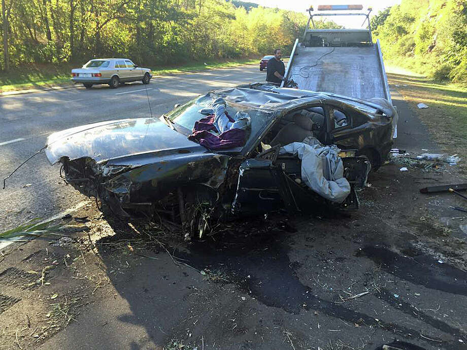 Trumbull firefighters and EMT responded to this accident on Route 25 north near Route 111 at around 4 p.m. on Tuesday, Oct. 11, 2016. One person inside the vehicle had to be extricated. Photo: Trumbull Volunteer Fire Co. Via Facebook.