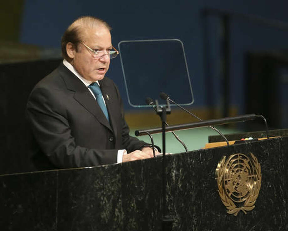 Pakistani Prime Minister Muhammad Nawaz Sharif speaks during the 71st session of the United Nations General Assembly at U.N. headquarters, Wednesday, Sept. 21, 2016. (AP Photo/Seth Wenig) Photo: Seth Wenig