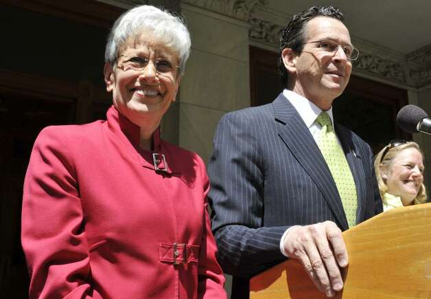 Former Stamford Mayor and Democratic gubernatorial candidate Dan Malloy right, announces State Comptroller Nancy Wyman, left, will run as his Lt. Governor at the Capitol in Hartford, Conn., Tuesday, May 11, 2010.  (AP Photo/Jessica Hill) Photo: Jessica Hill, AP / AP2010
