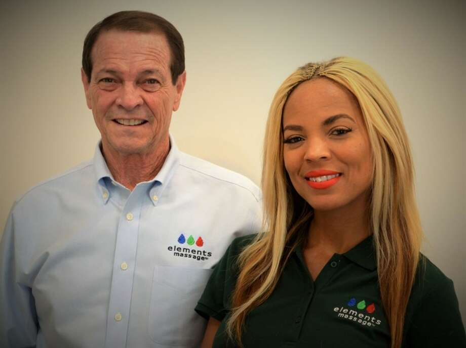 Rodney Dougan, left, and Rene Hubert will run the seventh Elements Massage location, scheduled to open across the street from the Galleria on Oct. 29. Photo: Elements Massage, Contributed Photo
