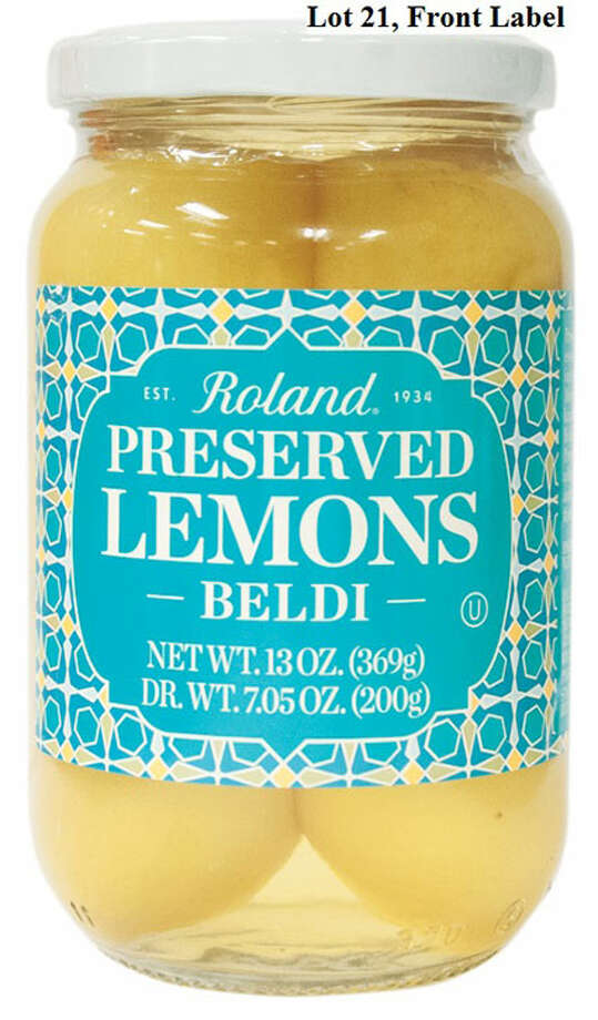 Roland Foods, is recalling specific lots of Roland® Preserved Lemons due to undeclared sulfites in the product. People who have a severe sensitivity to sulfites run the risk of serious or life-threatening allergic reaction if they consume this product. Photo courtesy of the U.S. Food and Drug Administration. Photo: Contributed