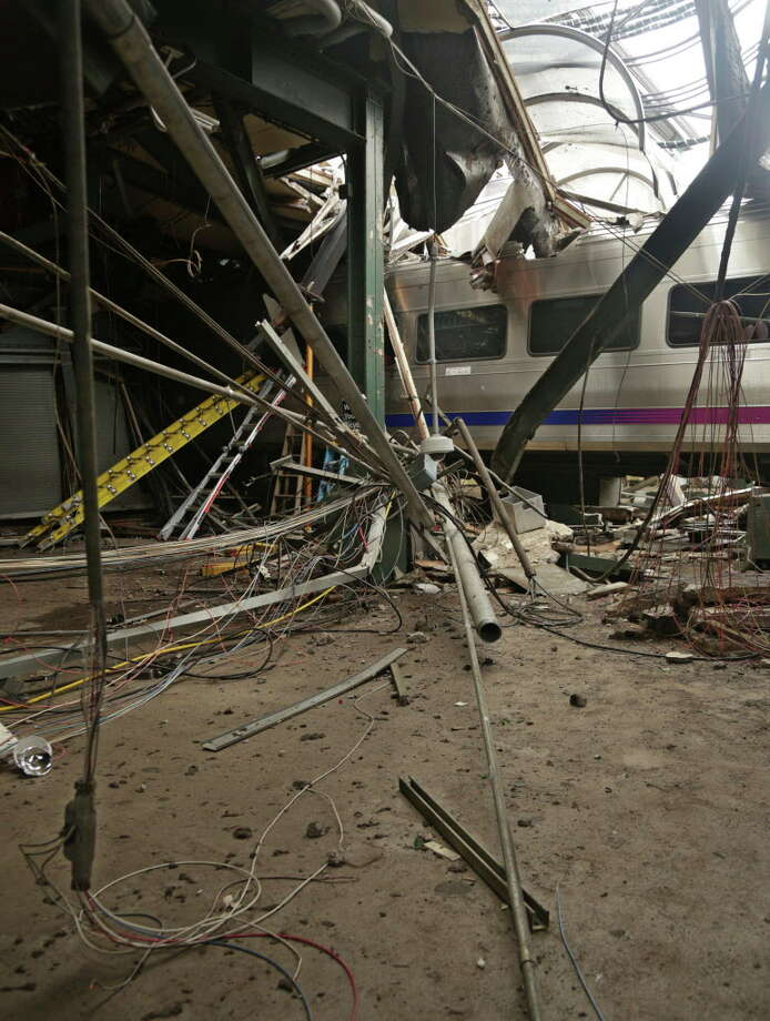 Damage done to the Hoboken Terminal in Hoboken, N.J., after a commuter train crash that killed one person and injured more than 100 others last month. Photo: Associated Press / National Transportation Safety B