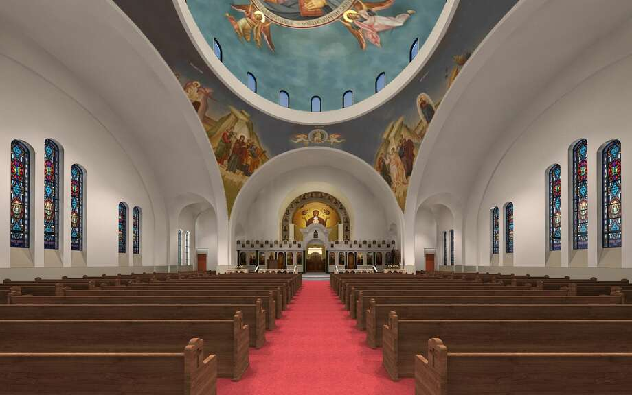 Future expansion plans for the Annunciation Greek Orthodox Cathedral in MontroseHoustonians recently got a chance to see renderings of future expansion plans for the Annunciation Greek Orthodox Cathedral in Montrose.Plans for church expansions show off an even larger golden dome – in addition to the smaller one seen now -- and also include a larger sanctuary that doubles the current seating capacity. New trees and lighting also appear in the renderings. Photo: Philip Johnson/Alan Ritchie Architects