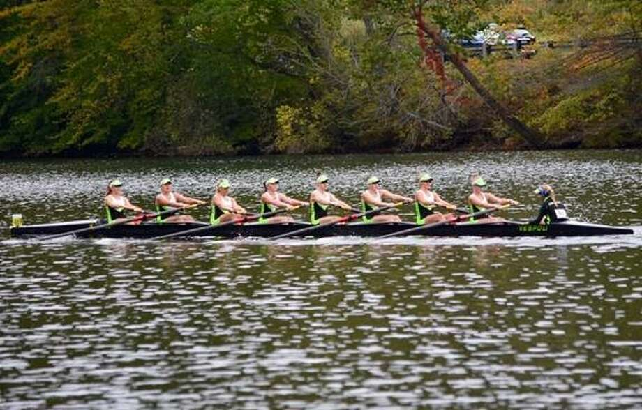 The junior novice-8 boat won Gold at the Housatonic Regatta in Shelton. Members of the boat shown above are:Colleen Visnic (coxswain) of Branford, Paige Pucel of Ridgefield, Emma Peelle of Rowayton, Heidi Jacobson of Greenwich, Jenna Macrae of New Canaan, Eleanor Imrie of Wilton, Gigi Skolds of Darien, Bridget Galloway of Ridgefield and Flynn Woodring of Darien. Photo: Contributed Photo