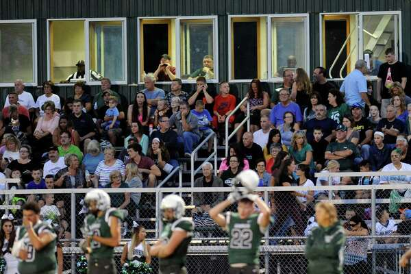 Fans watch Glens Falls play Schalmont during their Class B high school football game in Rotterdam, N.Y., Friday, Sept. 9, 2016. (Hans Pennink / Special to the Times Union) ORG XMIT: HP113