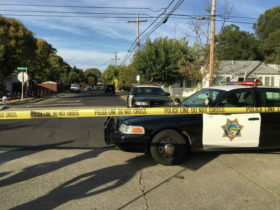Concord police roped off the block where two officers fatally shot a stabbing suspect after the man used pruning shears to stab a police dog. Photo: Kimberly Veklerov / The Chronicle