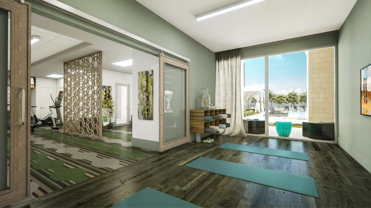 The fitness center at Overture Sugar Land, an apartment community by Greystar for age 55 and up at 850 Imperial Blvd. in Sugar Land.