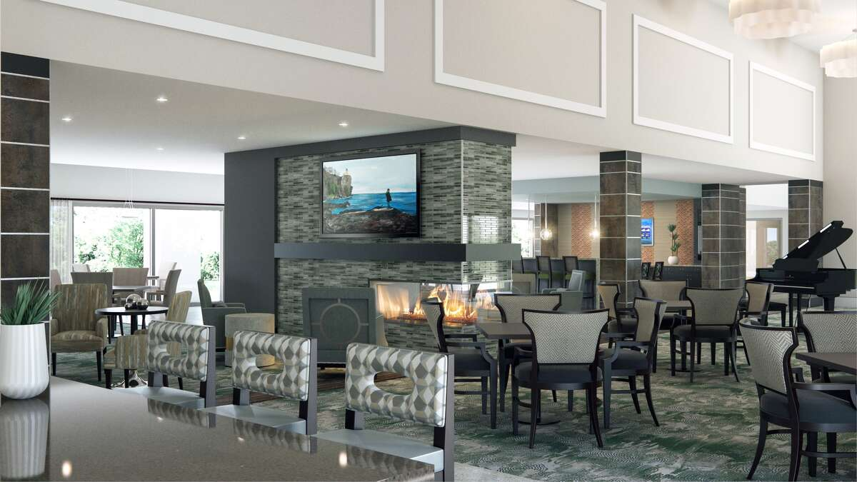 The lounge at Overture Sugar Land, an apartment community by Greystar for age 55 and up at 850 Imperial Blvd. in Sugar Land.
