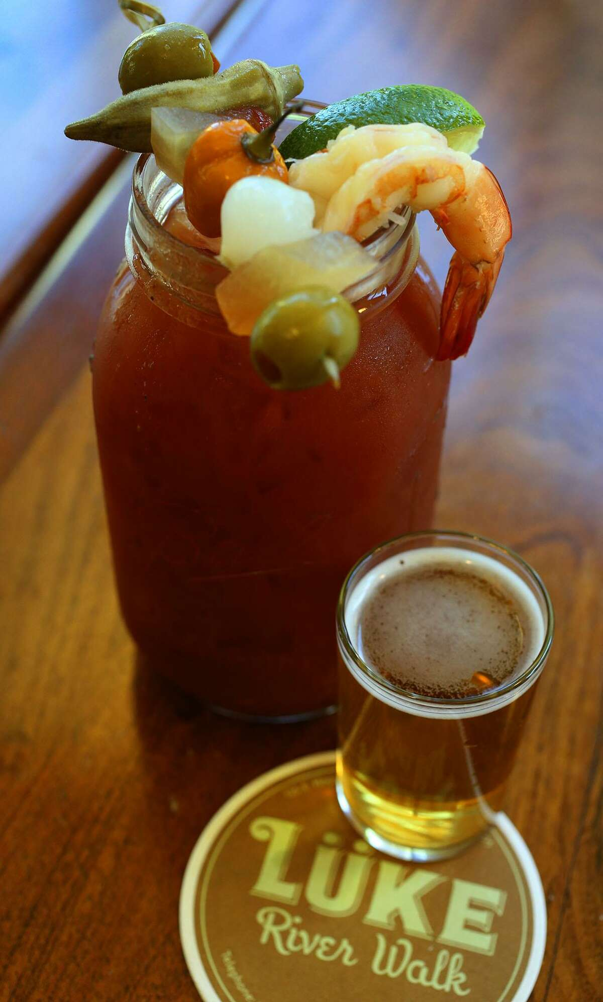 Lüke's bloody mary comes with a chaser of Alamo Ale.