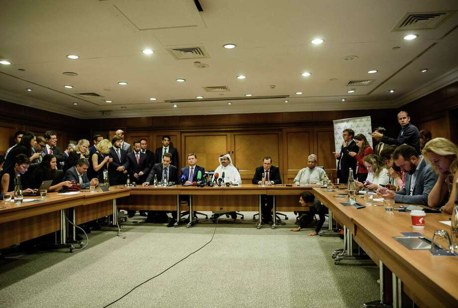Participants in the 23rd World Energy Congress hold a news conference Wednesday in Istanbul. Talks in Istanbul were positive, and cooperation between OPEC members and other producers is now well-established, Qatar's Energy Minister Mohammed al Sada said. Photo: Ozan Kose /AFP /Getty Images / AFP or licensors