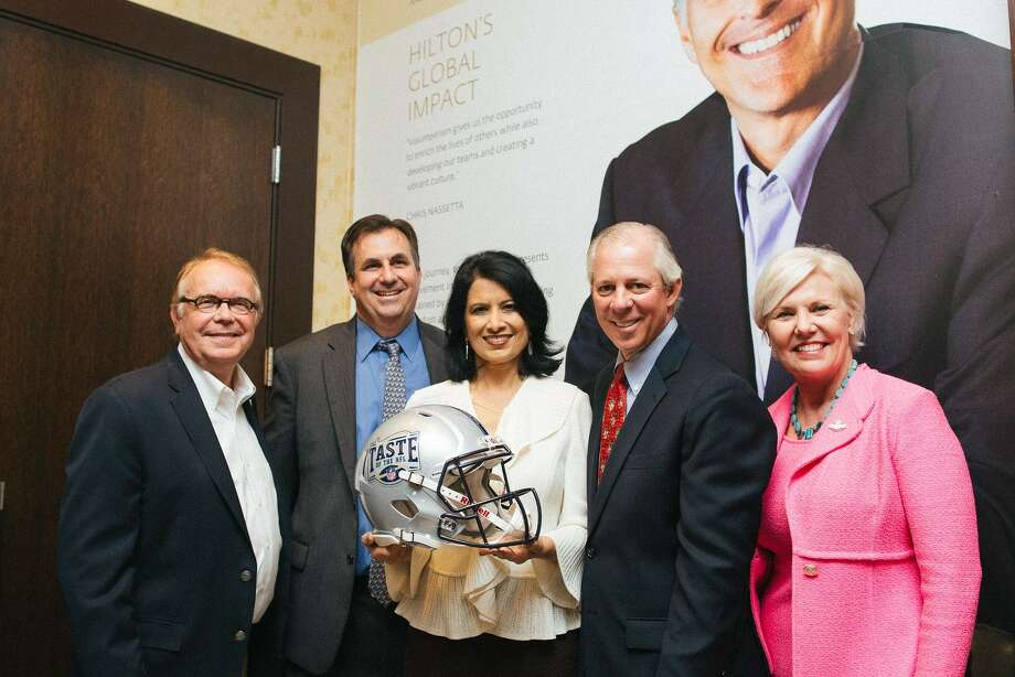 """Wayne Kostroski, Brian Greene, Renu Khator, Robert Robbins, and Sallie Sargent at Taste of the NFL's """"Party with a Purpose"""" special kick off held on University of Houston's campus on Tuesday, Oct. 11"""