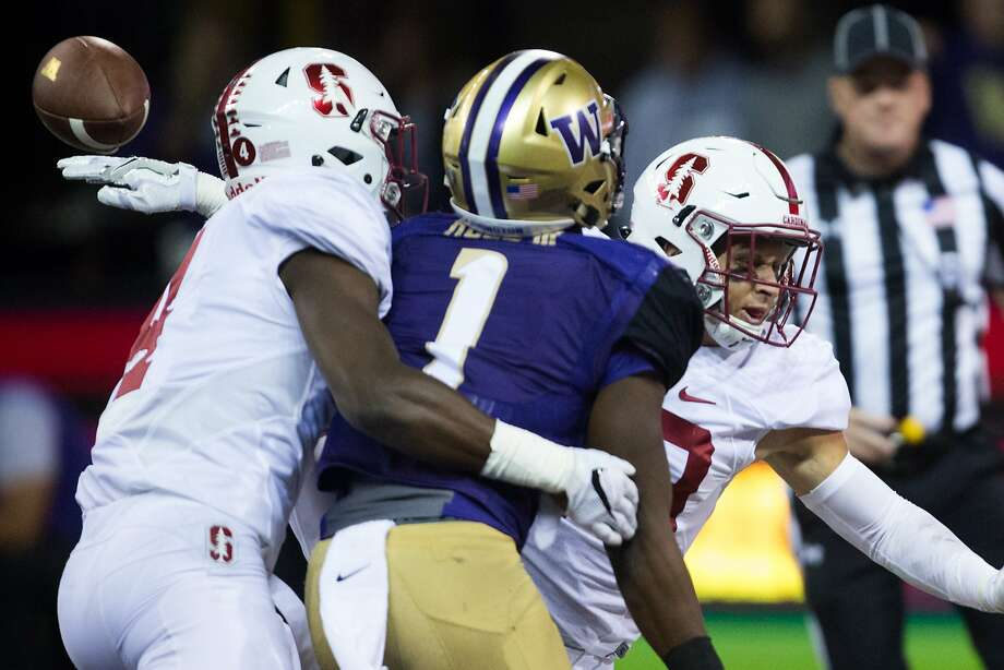 Stanford cornerback Frank Buncom (left) stopped Washington wide receiver John Ross on Sept. 30. The freshman says he wants to be a neurosurgeon. Photo: GRANT HINDSLEY, SEATTLEPI.COM
