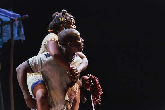 """Rose (Brittany Bellizeare) and�Max (Andy Lucien) in """"The Last Tiger in Haiti"""" at Berkeley Rep."""