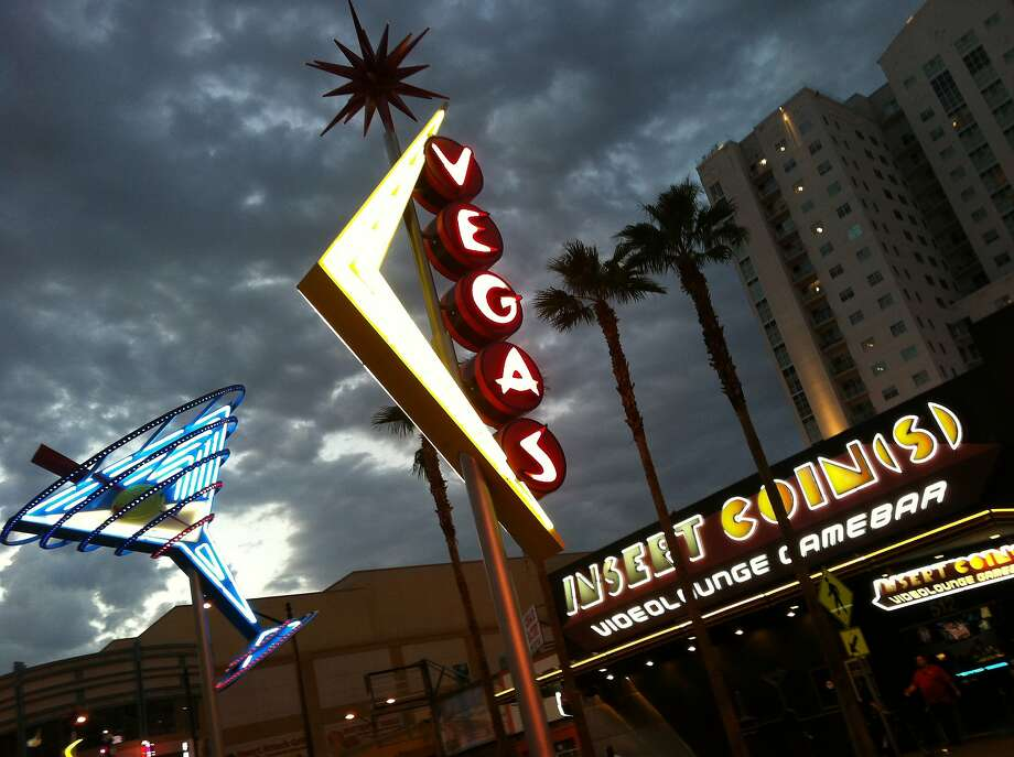 The neon signs that once represented the kitsch of old Las Vegas are now permanent public art in the downtown, including along the Fremont Street East, where much of the new development has been geared toward local culture and arts. Photo: Spud Hilton, SFC