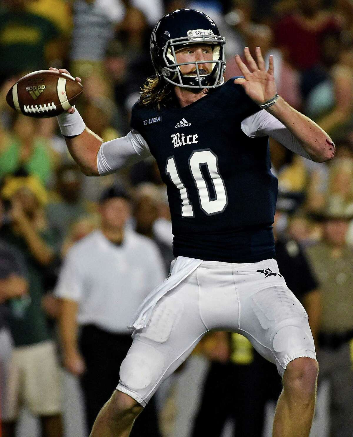 Rice quarterback Tyler Stehling throws a pass in the first half of an NCAA college football game against Baylor, Friday, Sept. 16, 2016, in Houston. (AP Photo/Eric Christian Smith)