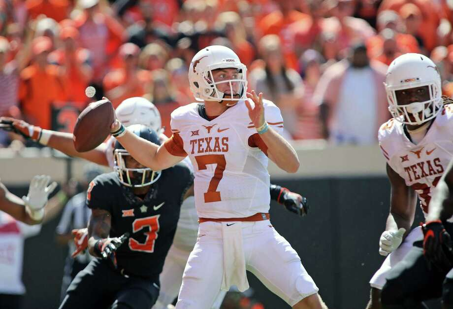 STILLWATER, OK - OCTOBER 1 :  Quarterback Shane Buechele #7 of the Texas Longhorns looks to throw against the Oklahoma State Cowboys October 1, 2016 at Boone Pickens Stadium in Stillwater, Oklahoma. The Cowboys defeated the Longhorns 49-31.  (Photo by Brett Deering/Getty Images) Photo: Brett Deering, Stringer / 2016 Getty Images