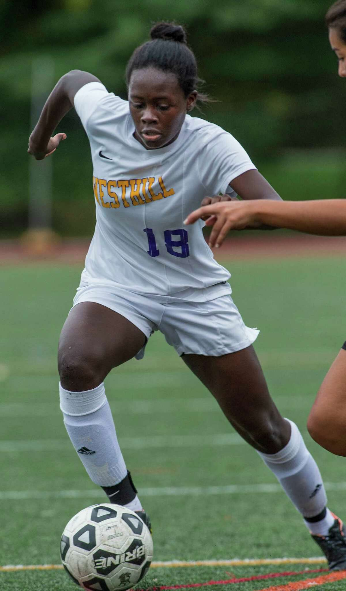 Westhill High School?'s Chelsea Domond moves the ball upfield during a girls soccer game against Stamford High School played at Westhill High School, Stamford, CT. Saturday, October 8, 2016.