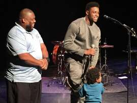 Raiders WR Michael Crabtree at a charity event Monday night, October 10, 2016 at Richmond school of the arts. He spoke to students and watched a performed before a movie screening. Photo Vic Tafur / The Chronicle