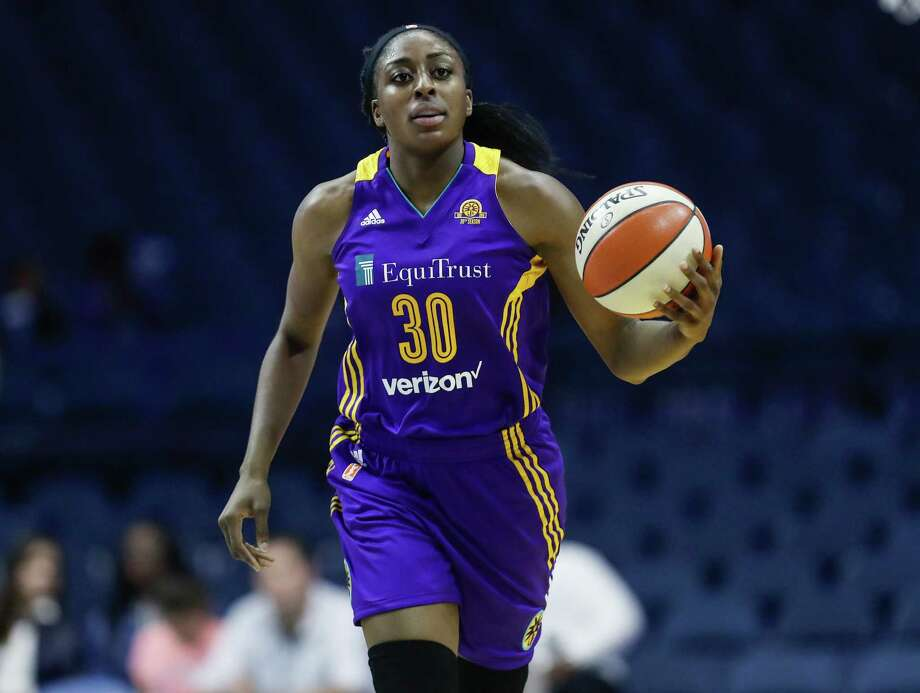 Los Angeles Sparks forward Nneka Ogwumike brings the ball up court against the Chicago Sky during the first half of Game 4 of the WNBA basketball semifinals, Tuesday, Oct. 4, 2016, in Rosemont, Ill. (AP Photo/Kamil Krzaczynski) Photo: Kamil Krzaczynski, FRE / FR136454 AP