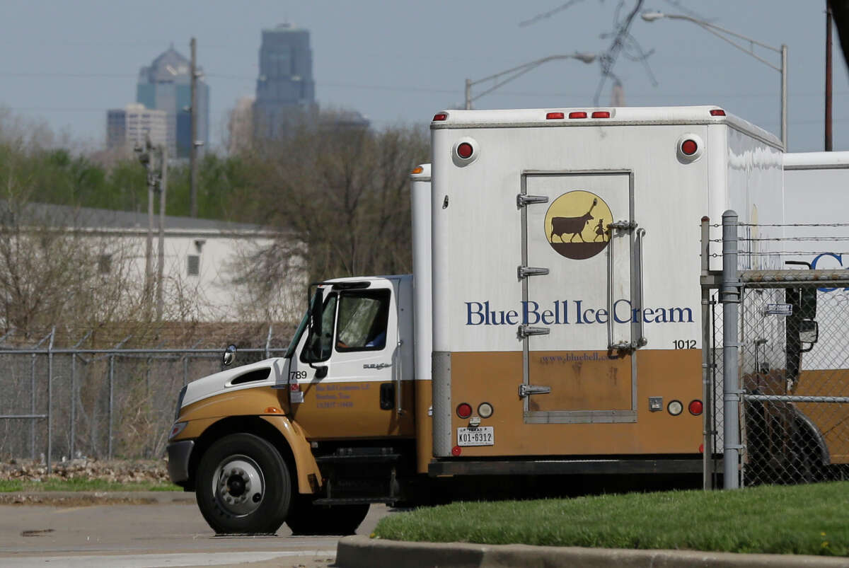 Blue Bell delivery trucks are parked at the creamery's location in Kansas City, Kan., Friday, April 10, 2015. Days after a foodborne illness was linked to Blue Bell ice cream products, a state inspection of an Oklahoma plant later tied to the infection praised the facility for having no violations and doing a