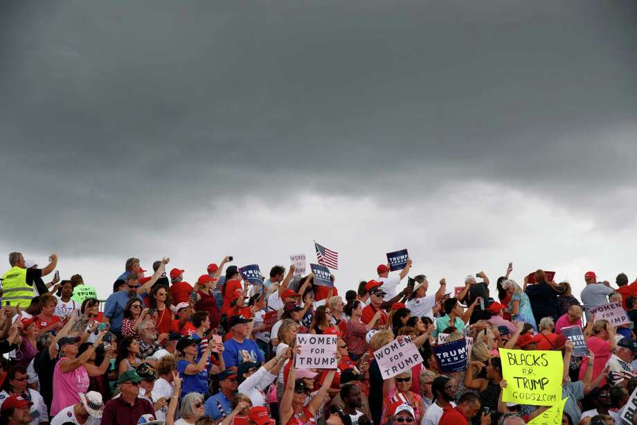 Supporters of Republican presidential candidate Donald Trump cheer during a campaign rally, Wednesday, Oct. 12, 2016, in Lakeland, Fla. (AP Photo/ Evan Vucci) Photo: Evan Vucci, STF / Copyright 2016 The Associated Press. All rights reserved.